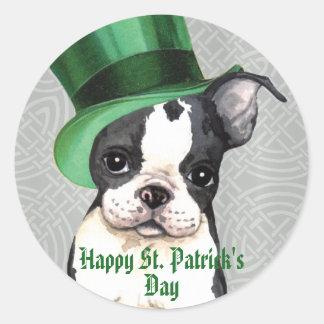 Adesivo Redondo O dia Boston Terrier de St Patrick