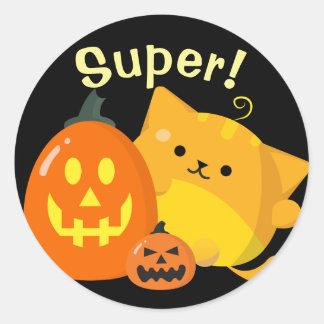 Adesivo Redondo O Dia das Bruxas customizável - gato da abóbora