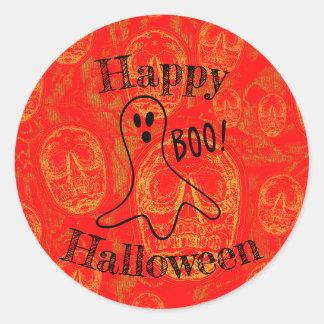 Adesivo Redondo O Dia das Bruxas feliz - fantasma