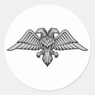 Adesivo Redondo O dobro dirigiu a águia