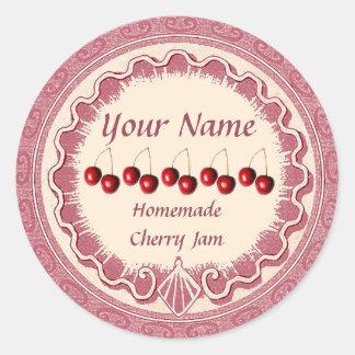 Adesivo Redondo O doce de cereja personaliza o rosa