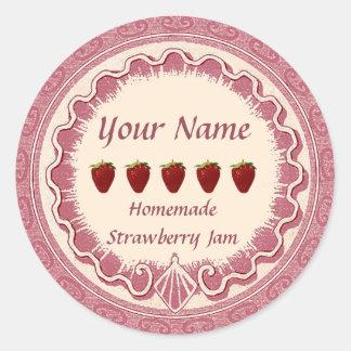 Adesivo Redondo O doce de morango personaliza o rosa