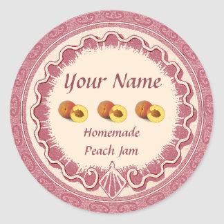 Adesivo Redondo O doce do pêssego personaliza o rosa