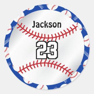 Adesivo Redondo O esporte | do basebol personaliza - o azul
