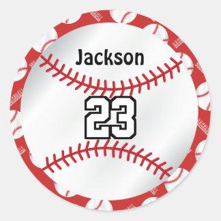 Adesivo Redondo O esporte | do basebol personaliza - o vermelho