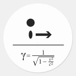 Adesivo Redondo O fator de Lorentz