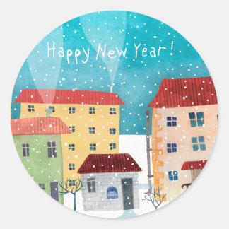 Adesivo Redondo O feliz ano novo!