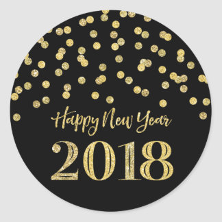 Adesivo Redondo O feliz ano novo 2018 dos confetes do brilho do