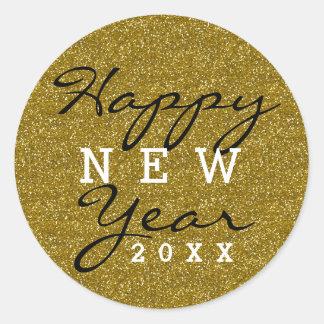 Adesivo Redondo O feliz ano novo do brilho do ouro