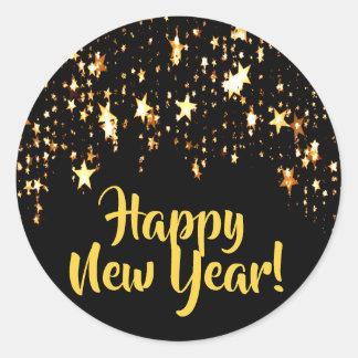 Adesivo Redondo O feliz ano novo no preto com estrelas de brilho