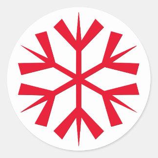 Adesivo Redondo O floco de neve vermelho do Natal grande caçoa o