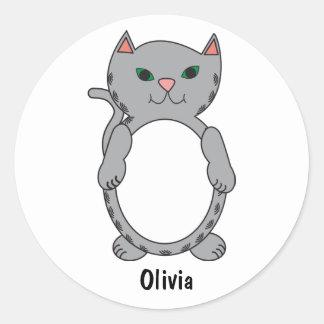 Adesivo Redondo O gatinho cinzento do gato do gatinho do gato
