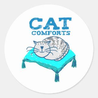 Adesivo Redondo O gato consola a ilustração do gato em uma