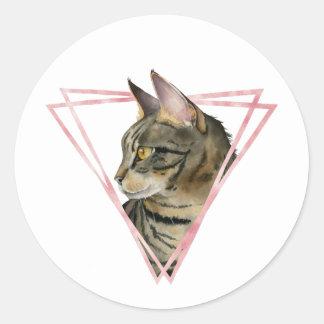 Adesivo Redondo O gato de gato malhado com falso cora quadro
