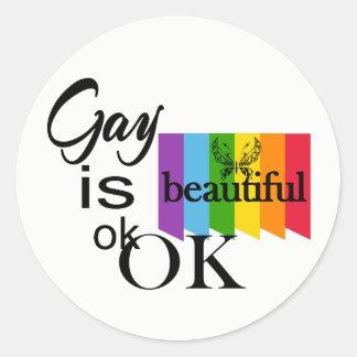 Adesivo Redondo O gay do orgulho de LGBTQIA é ok.OK bonito. Amor