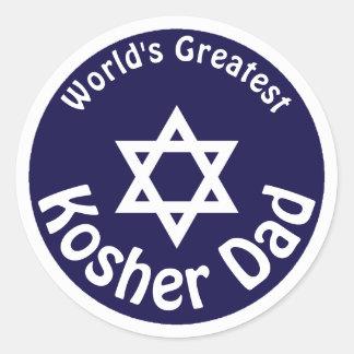 Adesivo Redondo O grande pai Kosher do mundo