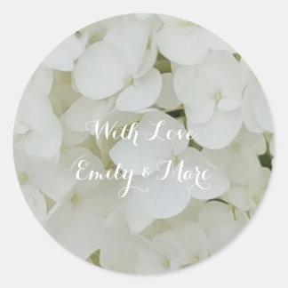 Adesivo Redondo O Hydrangea floresce o chique nupcial floral da