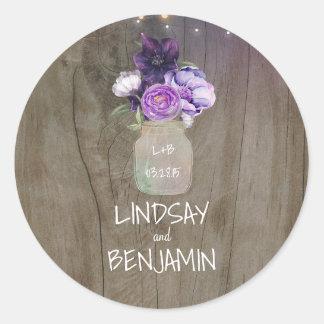 Adesivo Redondo O Lilac da ameixa floresce o casamento rústico do
