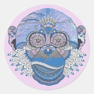 Adesivo Redondo O macaco decorado