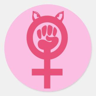 Adesivo Redondo O março das mulheres feministas do poder do