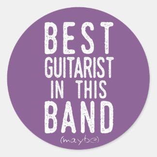 Adesivo Redondo O melhor guitarrista (talvez) (branco)