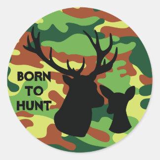 Adesivo Redondo O nascer para caçar o exército de Camo do