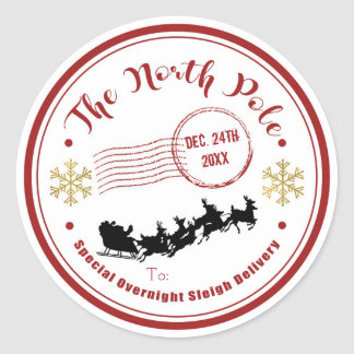 Adesivo Redondo O Natal de noite da entrega do trenó do Pólo Norte