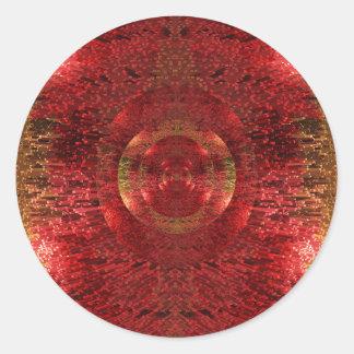 Adesivo Redondo O ouro brilhante e o teste padrão 3D alaranjado