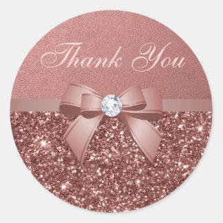 Adesivo Redondo O ouro cor-de-rosa cora obrigado que você brilha