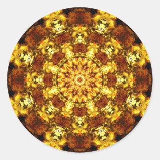 Adesivo Redondo O ouro Stars a mandala