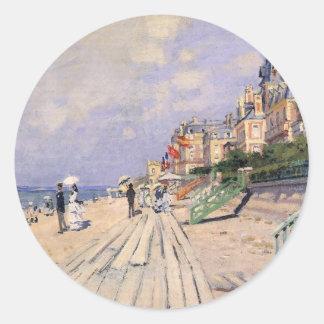 Adesivo Redondo O passeio à beira mar em Trouville Claude Monet