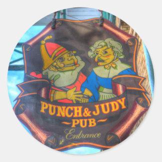 Adesivo Redondo O perfurador e o sinal do bar de Judy