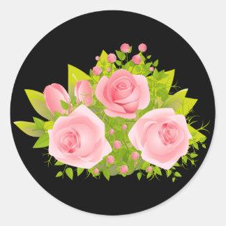 Adesivo Redondo O rosa floral do rosa floresce o preto