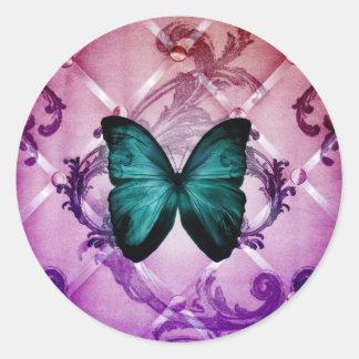 Adesivo Redondo O roxo do Flourish roda borboleta boémia da