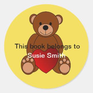 """Adesivo Redondo O urso de ursinho """"este livro pertence"""" ao"""