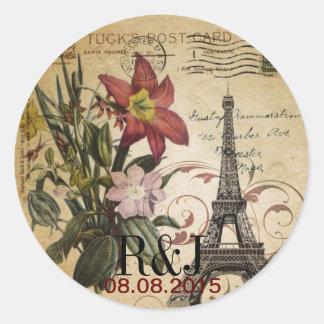 Adesivo Redondo O vintage botânico do lírio scripts a torre Eiffel