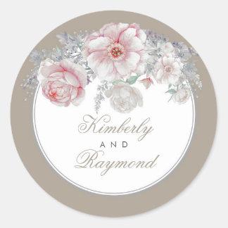 Adesivo Redondo O vintage cora aguarela cor-de-rosa das flores