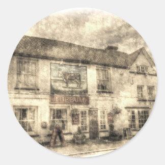 Adesivo Redondo O vintage de Theydon Bois do bar de Bull