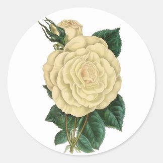 Adesivo Redondo O vintage floral branco aumentou
