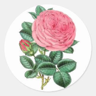 Adesivo Redondo O vintage floral cor-de-rosa aumentou