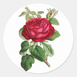 Adesivo Redondo O vintage floral vermelho aumentou
