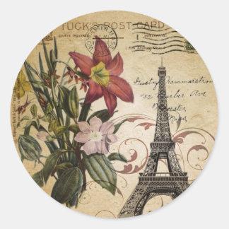 Adesivo Redondo o vintage moderno scripts a torre Eiffel de Paris