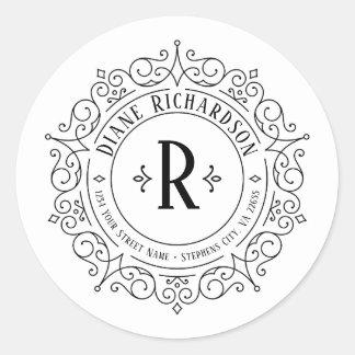 Adesivo Redondo O vintage ornamentado roda endereço do remetente