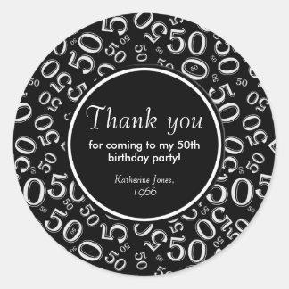 Adesivo Redondo Obrigado: 50th festa de aniversário preto e branco