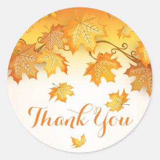 Adesivo Redondo Obrigado alaranjado você folhas de outono rústicas