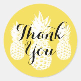 Adesivo Redondo Obrigado amarelo tropical da fruta do abacaxi você