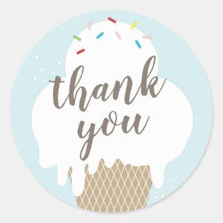 Adesivo Redondo Obrigado azul do aqua do cone do sorvete você