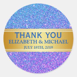 Adesivo Redondo Obrigado azul do crachá do ouro do brilho você