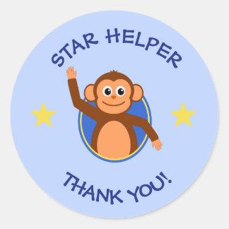 Adesivo Redondo Obrigado azul do macaco do ajudante dos