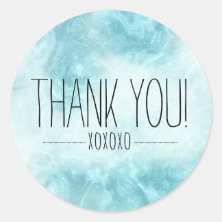 Adesivo Redondo Obrigado azul moderno chique de Boho você XOXOXO